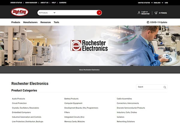 Image of Rochester Electronics supplier marketing center